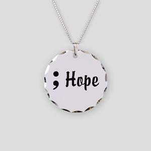 Hope Semicolon Necklace Circle Charm