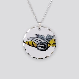 Neon Bee Necklace Circle Charm
