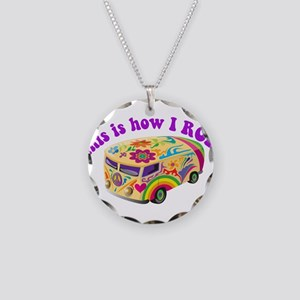 How I Roll Hippie Van Necklace Circle Charm