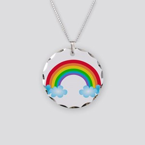 Rainbow & Clouds Necklace Circle Charm