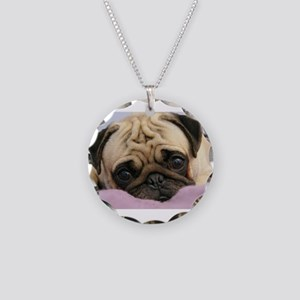 Pug Puppy Necklace Circle Charm