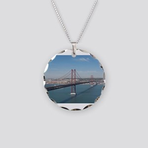 Red Bridge over the River Necklace Circle Charm