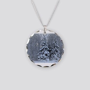 Majestic White Pines in Wint Necklace Circle Charm