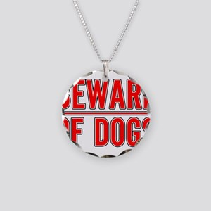 Beware of Dogs(White) Necklace Circle Charm