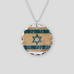 Israel Flag Necklace Circle Charm