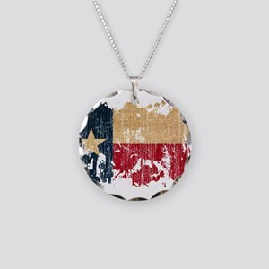 Texas Flag Necklace Circle Charm