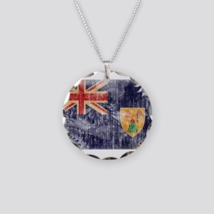 Turks and Caicos Flag Necklace Circle Charm
