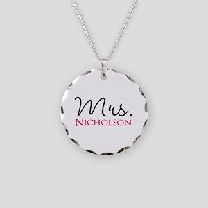 Customizable Name Mrs Necklace Circle Charm