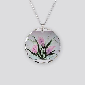 calla lily bouquet Necklace Circle Charm
