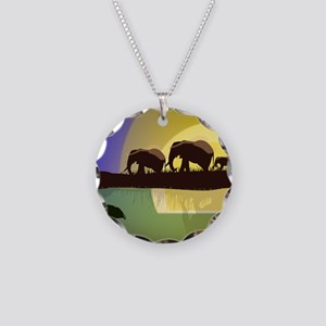 Animals African Landscape Necklace Circle Charm