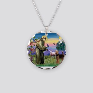 St Francis / Airedale Necklace Circle Charm