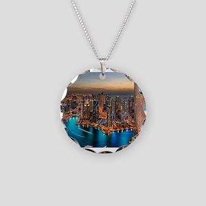 Dubai Skyline Necklace Circle Charm