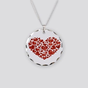 valentines day heart Necklace Circle Charm