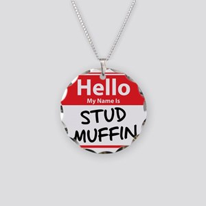 Hello My Name is Stud Muffin Necklace Circle Charm
