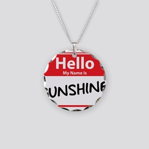 Hello My Name is Sunshine Necklace Circle Charm