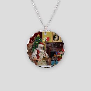Santa's Wheaten (#7) Necklace Circle Charm