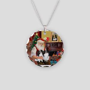 Santa's 2 Japanese Chins Necklace Circle Charm
