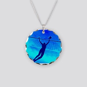 VOLLEYBALL BLUE Necklace Circle Charm