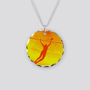 VOLLEYBALL ORANGE Necklace Circle Charm