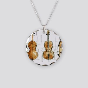 The Violin Necklace Circle Charm