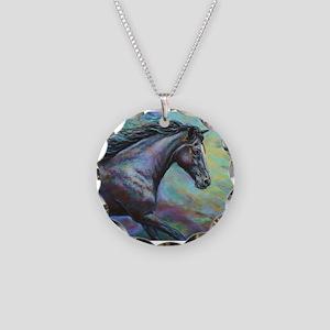 Dark Jewel painting Necklace Circle Charm