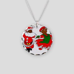 black santa mrs claus Necklace Circle Charm