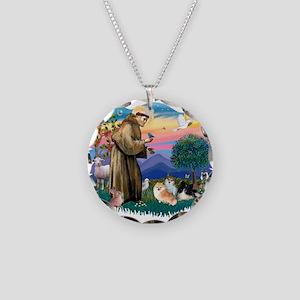 St.Francis #2/ Pomeranian(3) Necklace Circle Charm