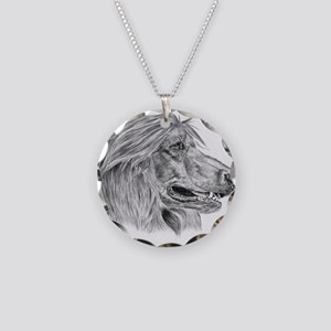 afghan hound Necklace Circle Charm
