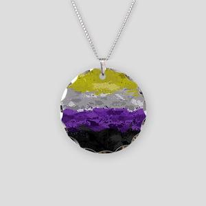 Non-Binary Paint Splatter Fl Necklace Circle Charm