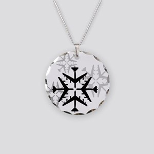 B-52 Aviation Snowflake Necklace Circle Charm