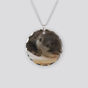 Sleeping Otter Necklace Circle Charm