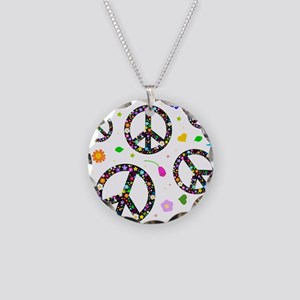Peace symbols and flowers pat Necklace Circle Char