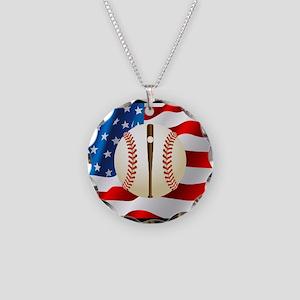 Baseball Ball On American Flag Necklace