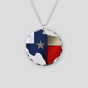 State of Texas Necklace Circle Charm