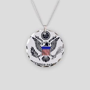 USCG Flag Emblem Necklace Circle Charm