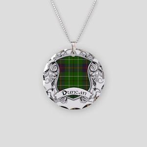 Duncan Tartan Shield Necklace Circle Charm