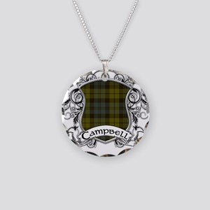 Campbell Tartan Shield Necklace Circle Charm