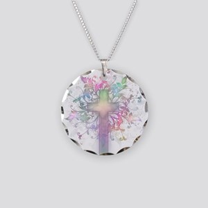 Rainbow Floral Cross Necklace Circle Charm