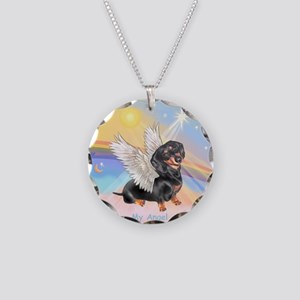 Clouds/Dachshund Angel Necklace Circle Charm