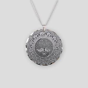 Shiny Metallic Tree of Life Yin Yang Necklace