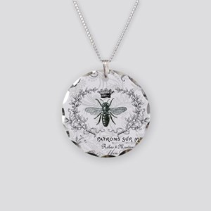 Vintage french shabby chic queen bee collage Neckl