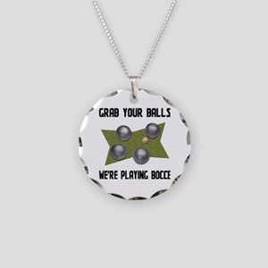 Grab Your Balls Bocce Necklace Circle Charm