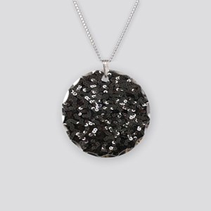 chic glitter black Sequins Necklace Circle Charm