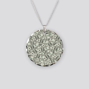 100 Dollar Bill Pattern Necklace Circle Charm