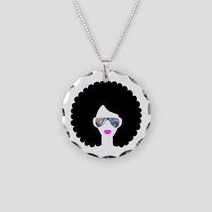 hologram afro girl Necklace Circle Charm