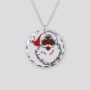 sequin African santa claus Necklace Circle Charm