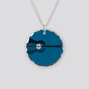 Trees sea and the moon turne Necklace Circle Charm