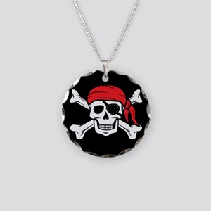 Jolly Roger Pirate (on Black Necklace Circle Charm