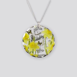 Vintage daffodils Necklace Circle Charm