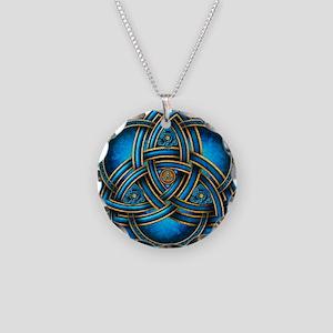 Blue Celtic Triquetra Necklace Circle Charm